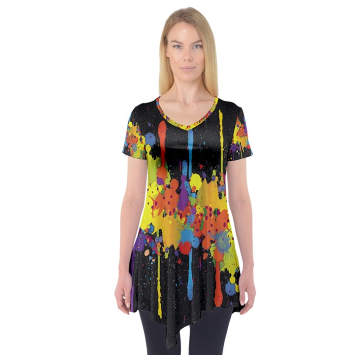 Crazy Multicolored Double Running Splashes Horizon Short Sleeve Tunic
