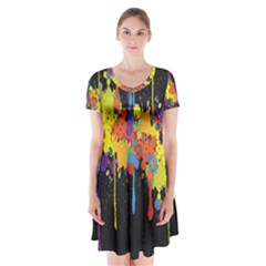Crazy Multicolored Double Running Splashes Horizon Short Sleeve V Neck Flare Dress
