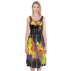 Crazy Multicolored Double Running Splashes Horizon Midi Sleeveless Dress by EDDArt