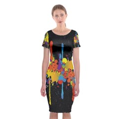 Crazy Multicolored Double Running Splashes Horizon Classic Short Sleeve Midi Dress