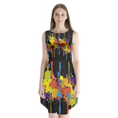Crazy Multicolored Double Running Splashes Horizon Sleeveless Chiffon Dress