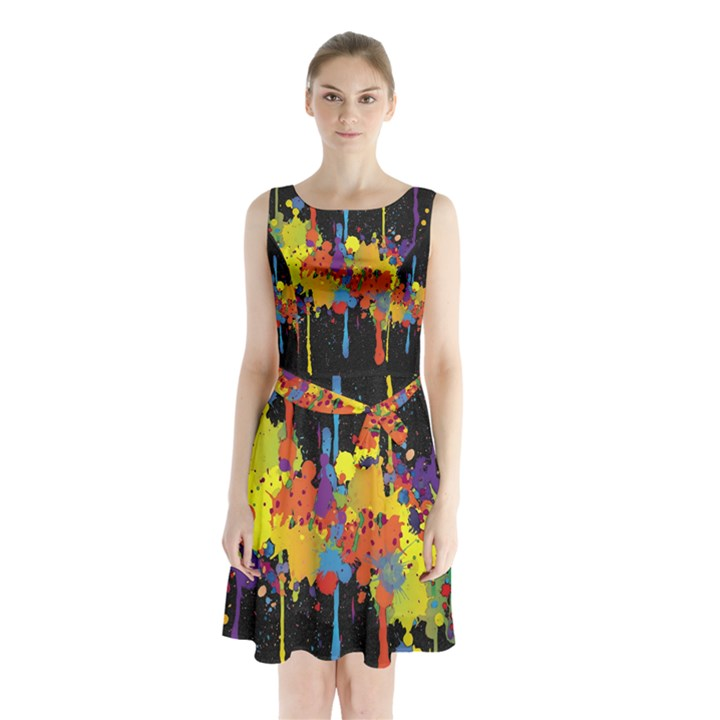Crazy Multicolored Double Running Splashes Horizon Sleeveless Chiffon Waist Tie Dress