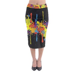 Crazy Multicolored Double Running Splashes Horizon Midi Pencil Skirt