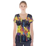 Crazy Multicolored Double Running Splashes Horizon Short Sleeve Front Detail Top