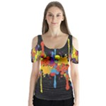 Crazy Multicolored Double Running Splashes Horizon Butterfly Sleeve Cutout Tee
