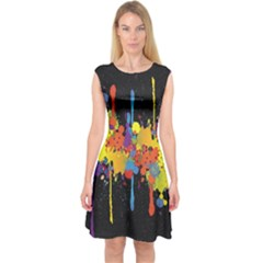 Crazy Multicolored Double Running Splashes Horizon Capsleeve Midi Dress