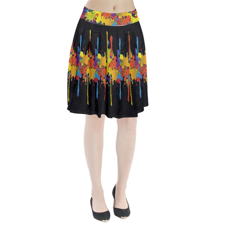 Crazy Multicolored Double Running Splashes Horizon Pleated Skirt