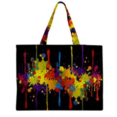 Crazy Multicolored Double Running Splashes Horizon Medium Tote Bag by EDDArt