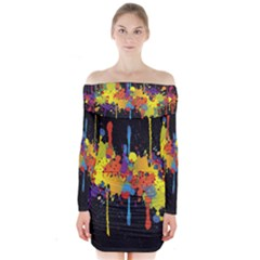 Crazy Multicolored Double Running Splashes Horizon Long Sleeve Off Shoulder Dress
