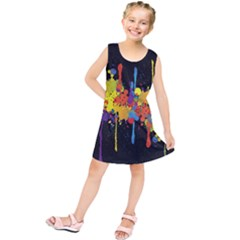 Crazy Multicolored Double Running Splashes Horizon Kids  Tunic Dress by EDDArt