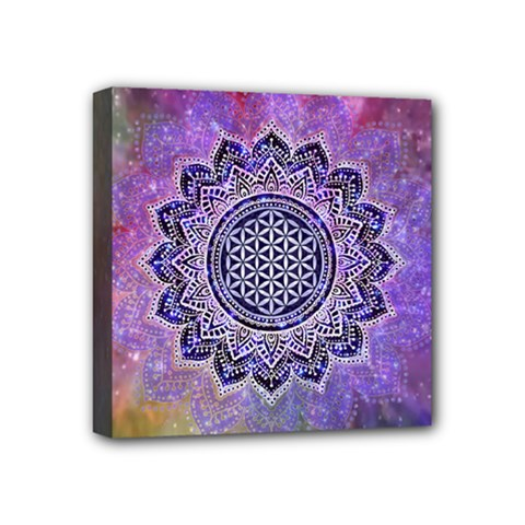 Flower Of Life Indian Ornaments Mandala Universe Mini Canvas 4  X 4  by EDDArt