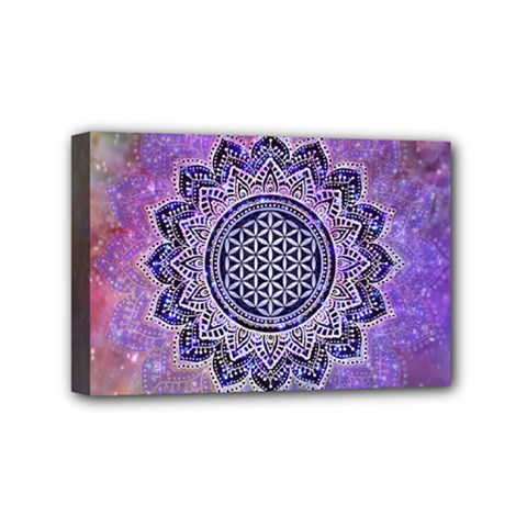 Flower Of Life Indian Ornaments Mandala Universe Mini Canvas 6  X 4