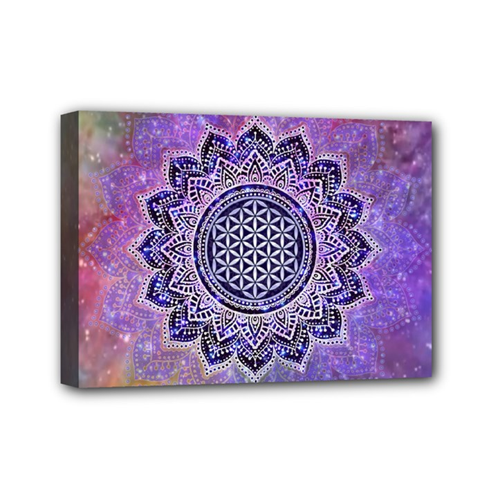 Flower Of Life Indian Ornaments Mandala Universe Mini Canvas 7  x 5