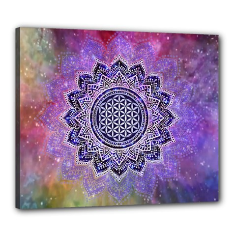Flower Of Life Indian Ornaments Mandala Universe Canvas 24  X 20