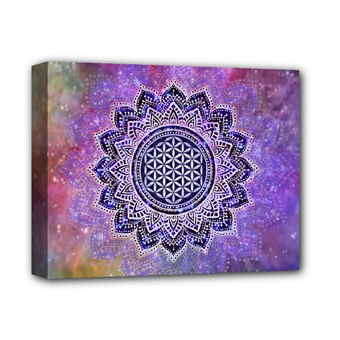Flower Of Life Indian Ornaments Mandala Universe Deluxe Canvas 14  X 11  by EDDArt
