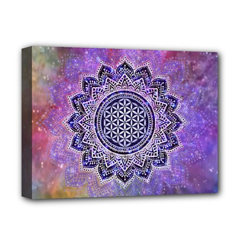 Flower Of Life Indian Ornaments Mandala Universe Deluxe Canvas 16  X 12   by EDDArt