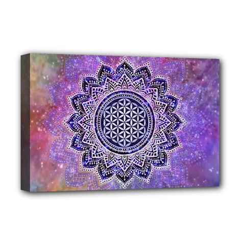 Flower Of Life Indian Ornaments Mandala Universe Deluxe Canvas 18  X 12
