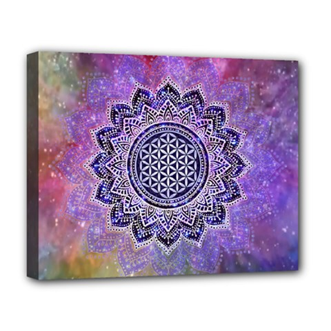 Flower Of Life Indian Ornaments Mandala Universe Deluxe Canvas 20  X 16