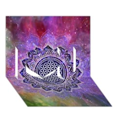Flower Of Life Indian Ornaments Mandala Universe I Love You 3d Greeting Card (7x5) by EDDArt