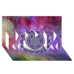 Flower Of Life Indian Ornaments Mandala Universe Mom 3d Greeting Card (8x4)