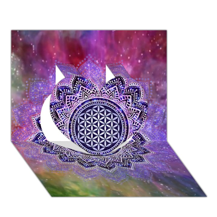 Flower Of Life Indian Ornaments Mandala Universe Heart 3D Greeting Card (7x5)