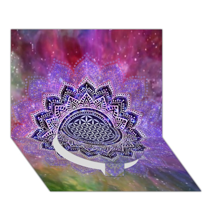 Flower Of Life Indian Ornaments Mandala Universe Circle Bottom 3D Greeting Card (7x5)
