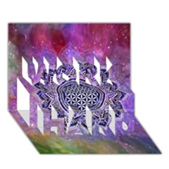Flower Of Life Indian Ornaments Mandala Universe Work Hard 3d Greeting Card (7x5) by EDDArt