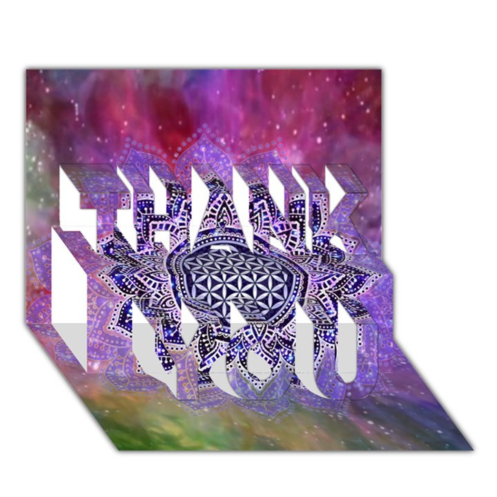 Flower Of Life Indian Ornaments Mandala Universe THANK YOU 3D Greeting Card (7x5)