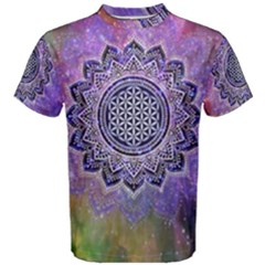 Flower Of Life Indian Ornaments Mandala Universe Men s Cotton Tee