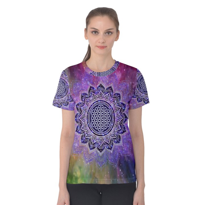 Flower Of Life Indian Ornaments Mandala Universe Women s Cotton Tee