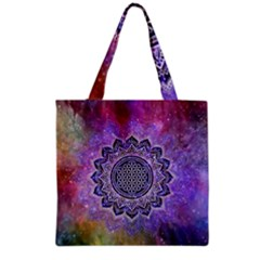 Flower Of Life Indian Ornaments Mandala Universe Grocery Tote Bag by EDDArt