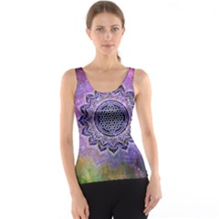 Flower Of Life Indian Ornaments Mandala Universe Tank Top
