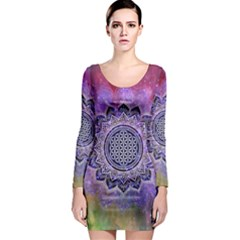 Flower Of Life Indian Ornaments Mandala Universe Long Sleeve Bodycon Dress by EDDArt