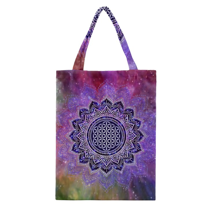 Flower Of Life Indian Ornaments Mandala Universe Classic Tote Bag