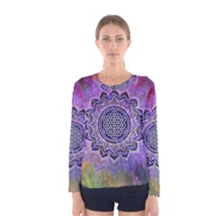Flower Of Life Indian Ornaments Mandala Universe Women s Long Sleeve Tee