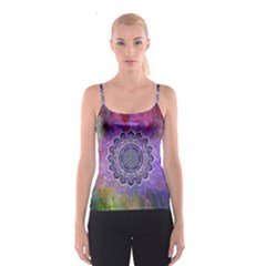 Flower Of Life Indian Ornaments Mandala Universe Spaghetti Strap Top by EDDArt