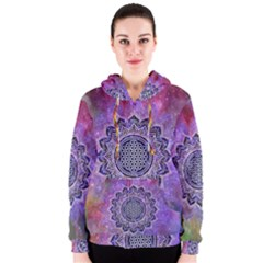 Flower Of Life Indian Ornaments Mandala Universe Women s Zipper Hoodie by EDDArt