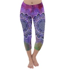 Flower Of Life Indian Ornaments Mandala Universe Capri Winter Leggings