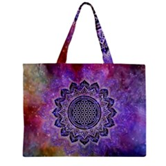 Flower Of Life Indian Ornaments Mandala Universe Zipper Mini Tote Bag by EDDArt