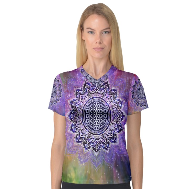 Flower Of Life Indian Ornaments Mandala Universe Women s V-Neck Sport Mesh Tee