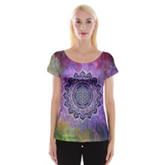 Flower Of Life Indian Ornaments Mandala Universe Women s Cap Sleeve Top