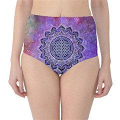 Flower Of Life Indian Ornaments Mandala Universe High Waist Bikini Bottoms