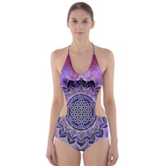 Flower Of Life Indian Ornaments Mandala Universe Cut Out One Piece Swimsuit