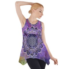 Flower Of Life Indian Ornaments Mandala Universe Side Drop Tank Tunic