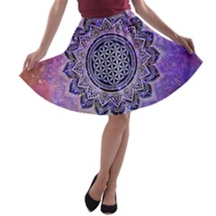 Flower Of Life Indian Ornaments Mandala Universe A Line Skater Skirt
