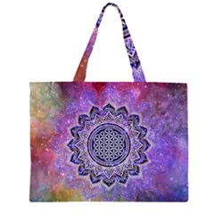 Flower Of Life Indian Ornaments Mandala Universe Zipper Large Tote Bag by EDDArt