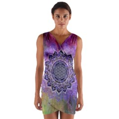 Flower Of Life Indian Ornaments Mandala Universe Wrap Front Bodycon Dress by EDDArt