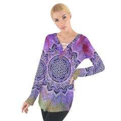 Flower Of Life Indian Ornaments Mandala Universe Women s Tie Up Tee by EDDArt