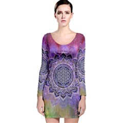 Flower Of Life Indian Ornaments Mandala Universe Long Sleeve Velvet Bodycon Dress