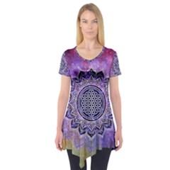 Flower Of Life Indian Ornaments Mandala Universe Short Sleeve Tunic  by EDDArt